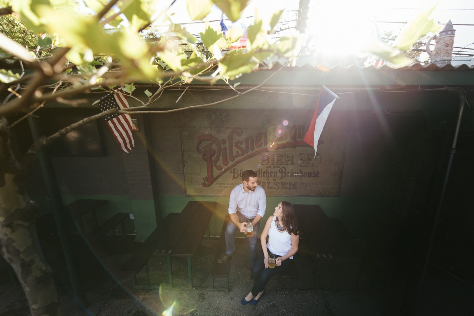 Beer garden engagement session