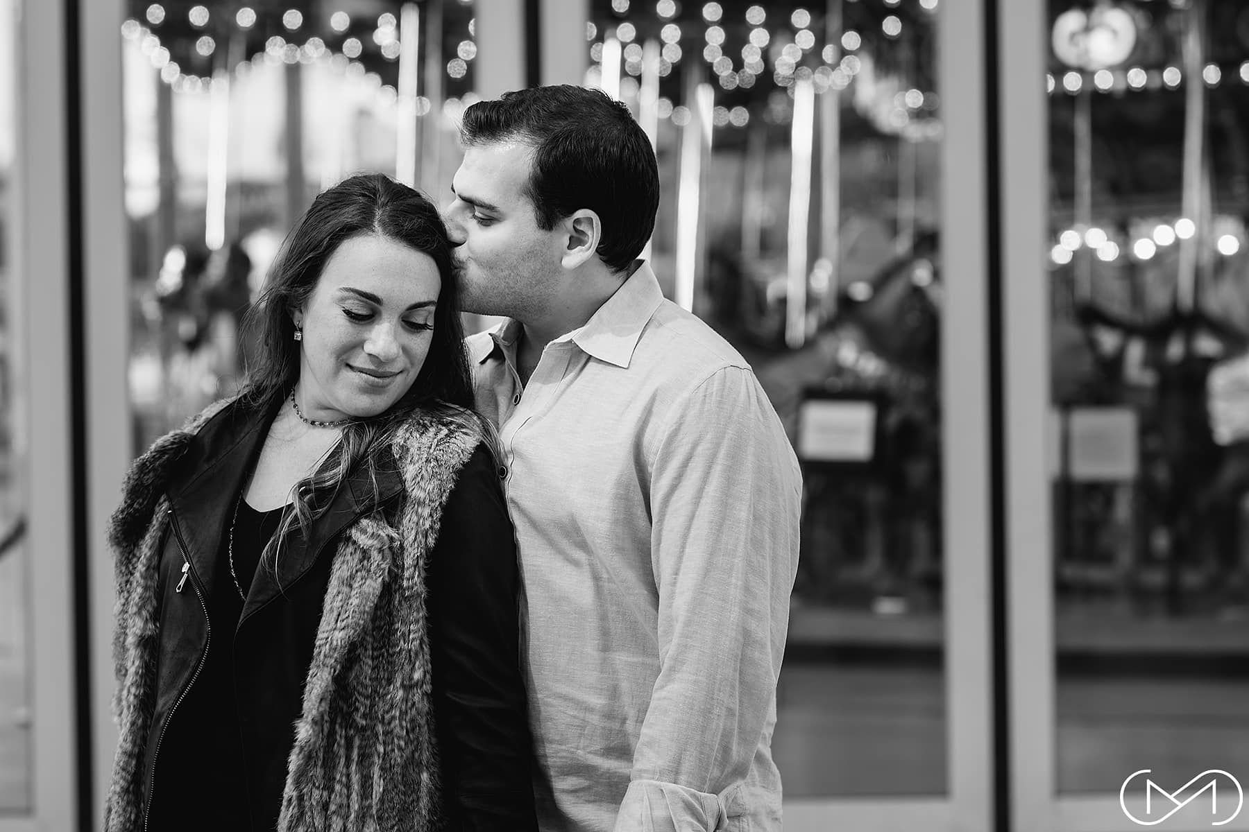 Jane's Carousel Brooklyn engagement pohoto
