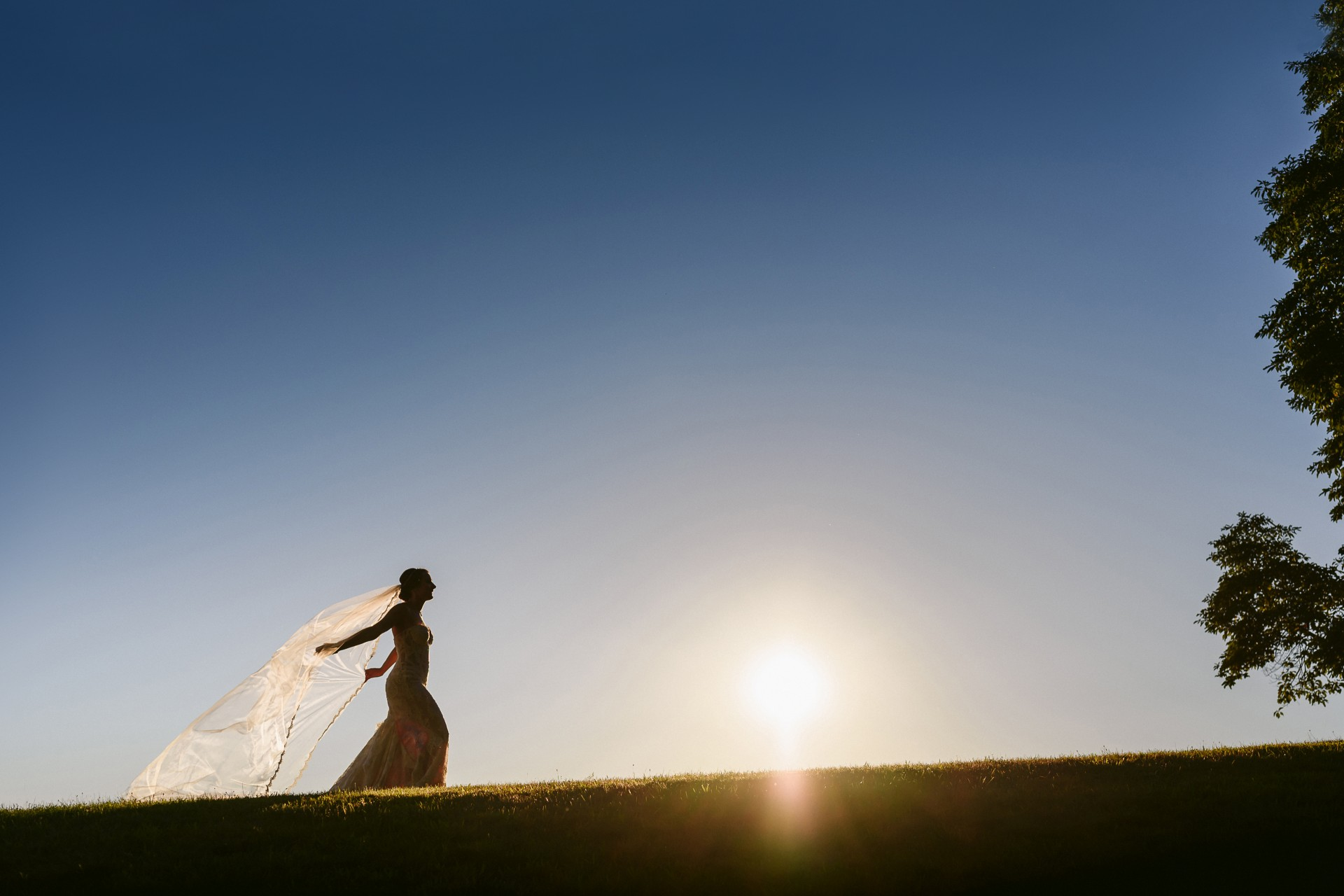 Sunset bride at Hudson Valley wedding