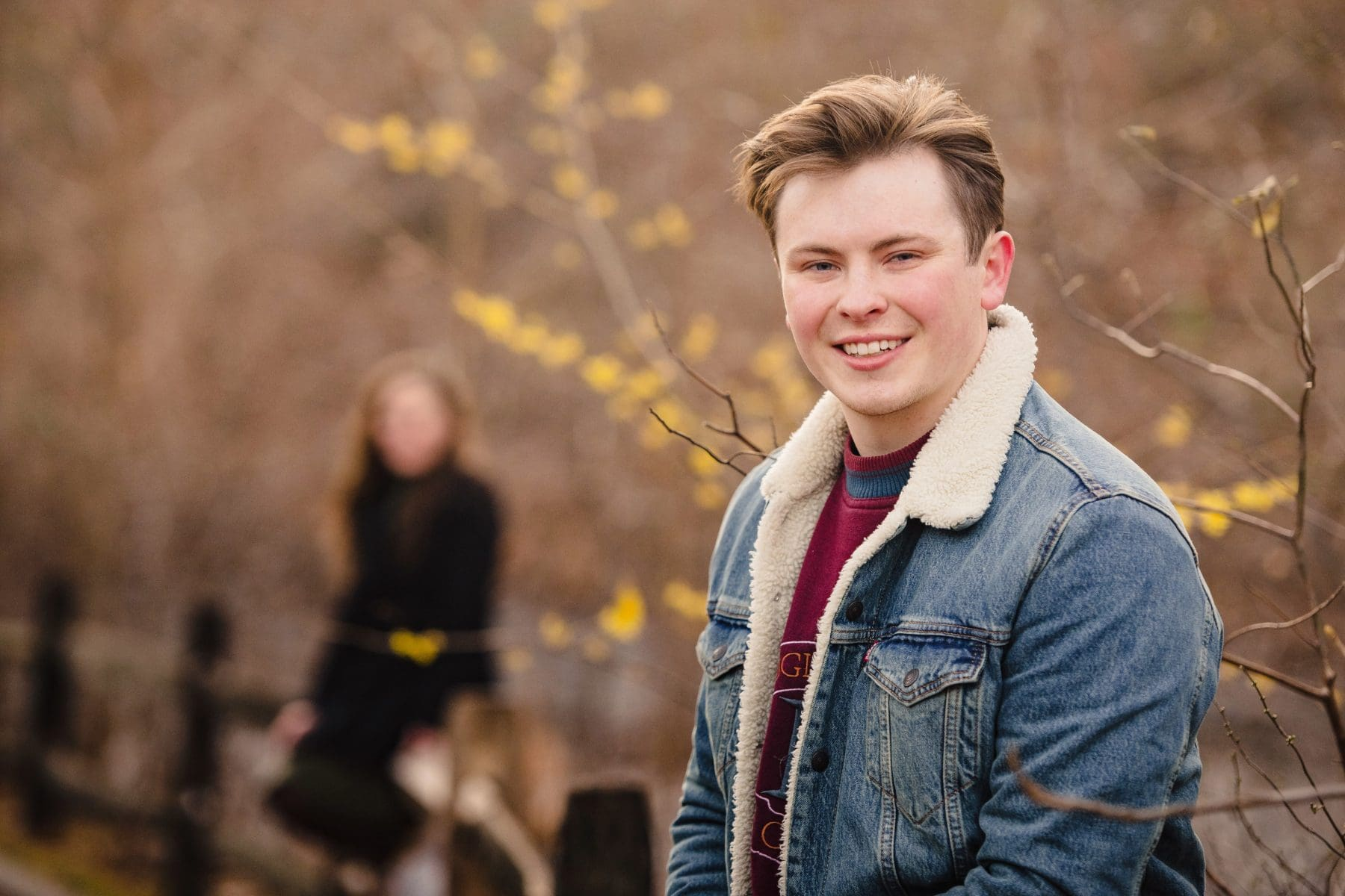 Portrait of the young man in nature at Bronx Botanical Garden