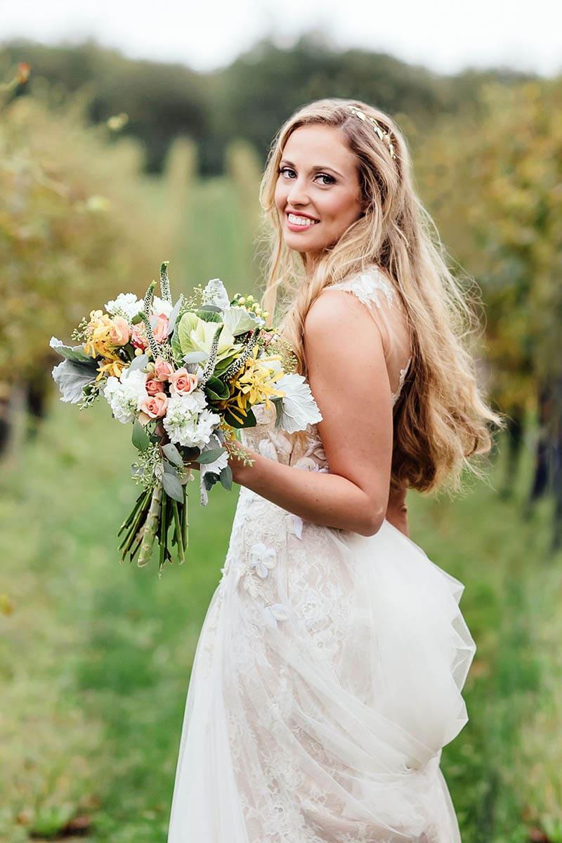 Long Island Vineyard Wedding Bride Portrait