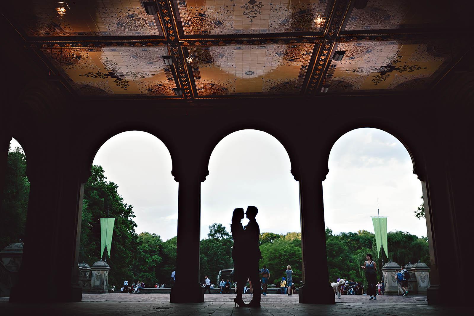 Park Bethesda Terrace Engagement silhouette