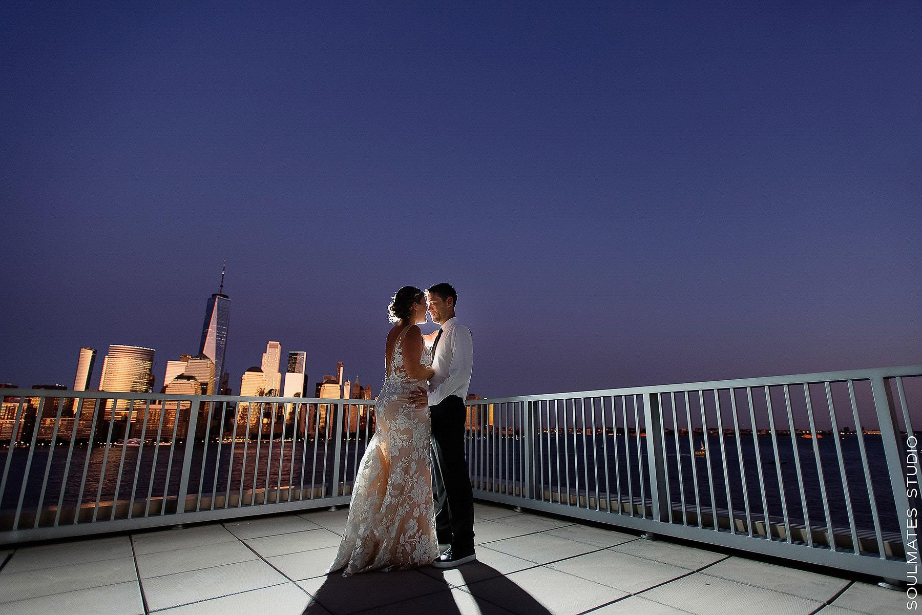 Jersey City Wedding Night Portrait with Manhattan Skyline