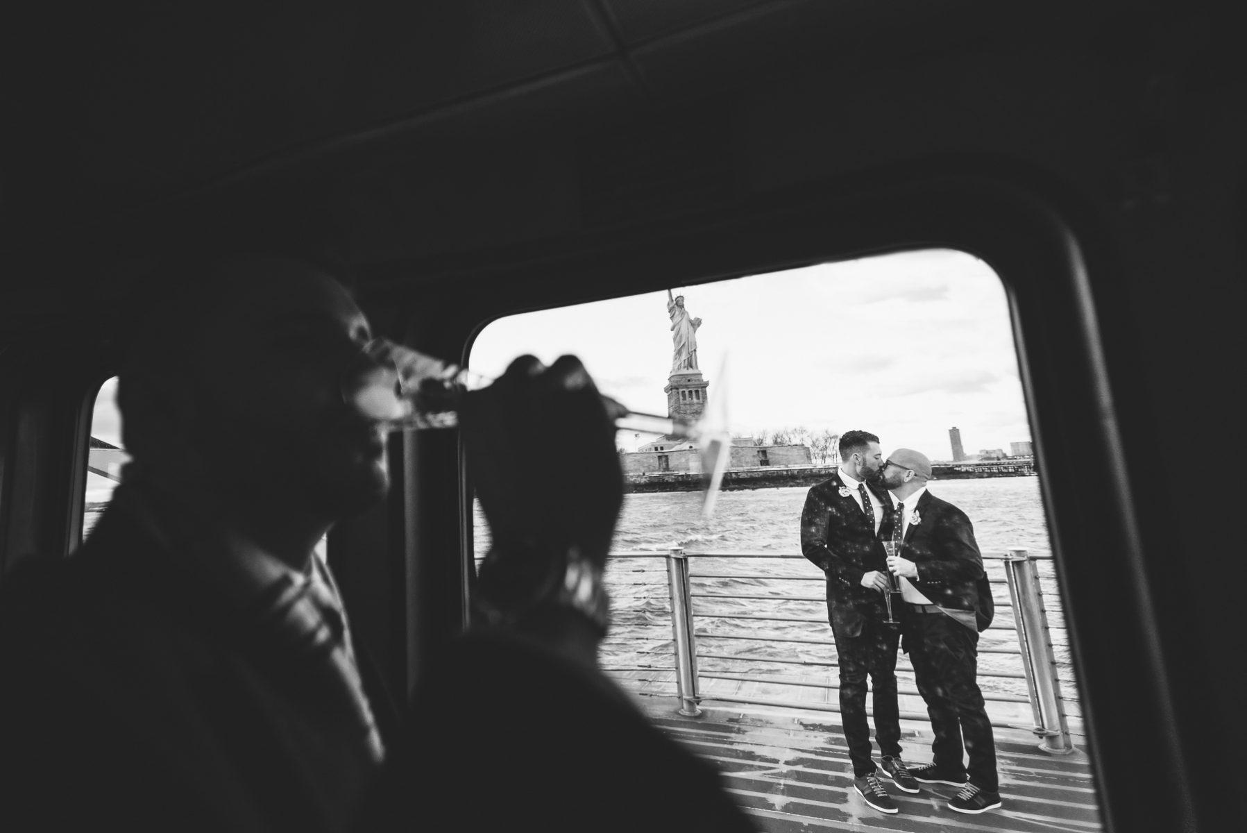 Manhattan river taxi wedding
