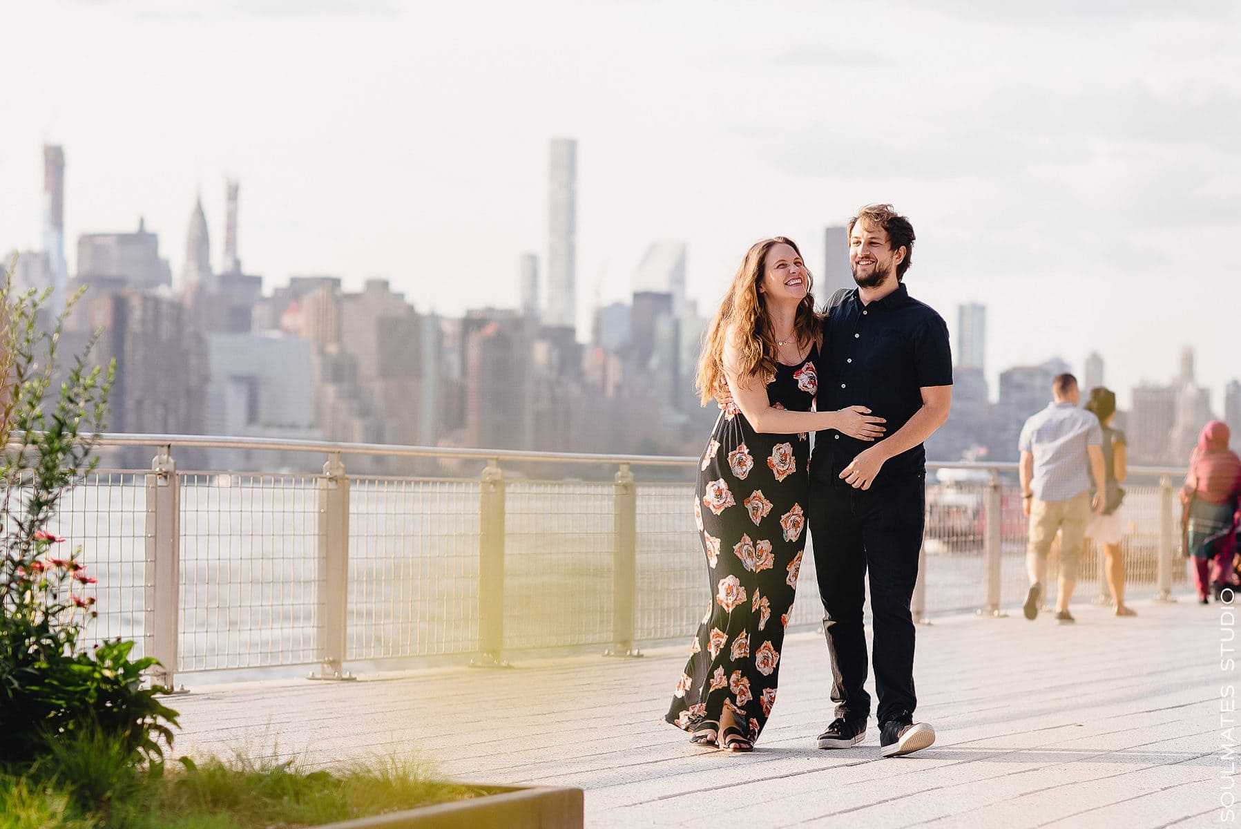 Williamsburg Domino Park Engagement Session Couple
